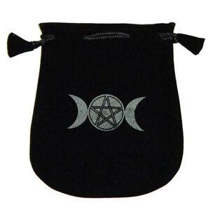 """NEW Triple Moon Velveteen Bag for Runes Dice Crystals 5"""" Black Velvet Pouch"""