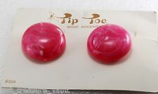 Vintage Pair SHoe Clips Pink White Round Button Tip Toe