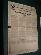 Original 1934 Poster: NATIONAL RECOVERY ADMINSTRATIONS----DENTAL LABOR