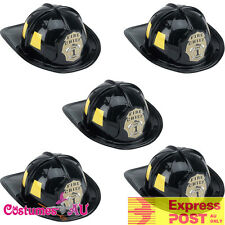 5 x Mens Fireman Helmet Firefighter Firehouse Costume Black Party Adults Cap Hat