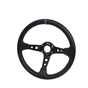 """3.5"""" Deep Dish 350mm Aluminum Steering Wheel Black PVC Leather with Center Blue"""