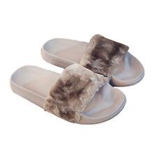 Women's Flat Fur Fluffy Plush Slip on Sliders Slippers Sandals Flip Flops Shoes