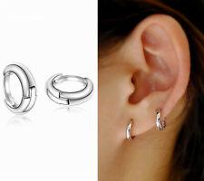 925 Sterling Silver Plain Simple Tiny Small Hoop Huggie Earrings 10mm Men Women