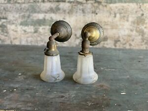 Antique Pair Of Brass Victorian Era Sconces Salvaged Lights Wall Mount W/ Shades