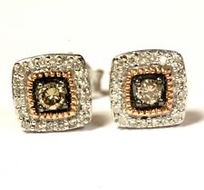925 Sterling Silver .25ct champagne white diamond cluster stud earrings 1.7g