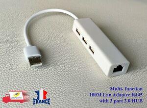 Carte Réseau Ethernet RJ45 Lan + USB HUB 3 ports à USB 2.0 adaptateur 10/100Mbps