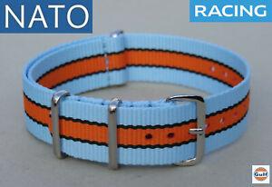 BRACELET MONTRE NATO 18mm GULF racing chronograph watch pilot mechanical strap
