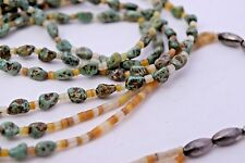 """Green Turquoise Nugget Sterling Beads Heishi Shell Long 2 Strand Necklace 30"""""""