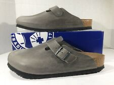 BIRKENSTOCK Womens Boston Iron Gray Leather Clog Shoes Sz 10 EU43 ZB6-1481