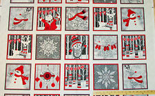 "Holiday Magic Reindeer Snowman Blocks Henry Glass Christmas Fabric 23"" #9797PP"
