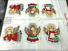 Christmas Angel Ornaments Fabric Panels Cranston Vintage 1970s 2 Full Panels