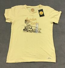 Life is Good Garden Party T Shirt Short Sleeve Women's Size Medium Yellow