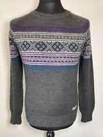 Superdry Women's Vintage Nordic Knit Grey Jumper Pullover Sweater NE002 M