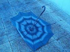 Ancien parapluie - Ombrelle - Toile noire - Pommeau imitation peau de serpent