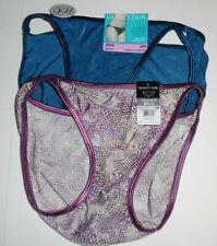 2 Vanity Fair Bikini Panty Set 18108 Illumination 6 M Blue Purple Print NWT