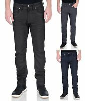 Crosshatch Mens New Slim Fit Stretch Fashion Jeans Menzo Denim Black Blue Grey