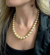 d74c9449c96f 585 14k Oro Amarillo Ms Diamante Natural Dorado Cultivada Perla Collar de  Cadena