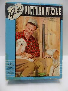 Guild Jigsaw Puzzle Vintage 304 Pc.  Man & Dogs Hunting