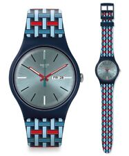 Swatch WOVERING Watch suon710 Analogue Silicone Dark Blue,Light Blue, Red