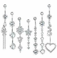 7 Pcs 14G CZ Dangle Belly Button Rings 316L Surgical Steel Curved Navel Barbell