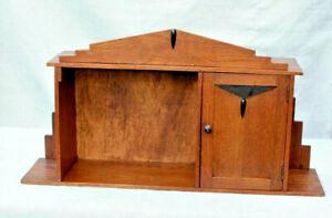 Rare oak wood carved Amsterdam Holland art deco school cabinet standing