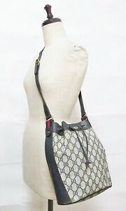Auth Vintage GUCCI Blue GG PVC Canvas and Leather Shoulder Bag Purse #39968