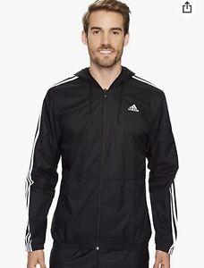 Adidas Men's Essentials Wind Jacket - Black/White Size Medium, M