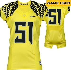 Oregon Ducks Game-Used 2012-2015 Yellow and Black Jersey #51 Size 46