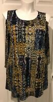 Attitudes by Renee Women's  Sz  XL 3/4 Sleeve Cold Shoulder Multi Tunic  A287077