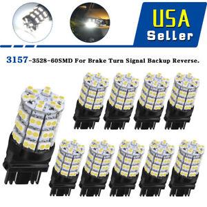 10 PCS White 3157/3057 60-SMD LED Bulbs For BackUp Reverse Tail Brake Parking