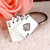 1PC Creative Metal Key Chain Ring  Poker Keychain Keyring Keyfob