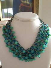 VTG Antique Enameled Triple Chain Haskell Art Glass Galore SEA GREEN NECKLACE