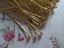 Gold Ball End Headpins - 24 gauge - 2 inch Head Pins - Qty 80 pieces