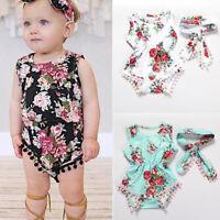 Newborn Toddler Baby Girls Floral Bodysuit Romper Jumpsuit Summer Clothes Set