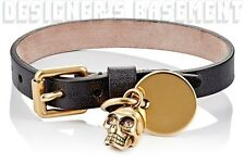 ALEXANDER MCQUEEN black leather gold SKULL CHARM Wristband bracelet NIB Authentc