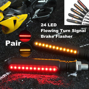 Pair Yellow+Red 12V Motorcycle Brake Tailight Flasher Turn Signal Light Replace