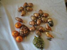 Vintage Glass Christmas Tree Ornaments,Leaves ,Acorns,Birds,Pumpkins
