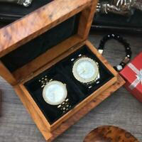 Small Black Velvet lined Thuya wooden storage Watch Box, birthday gift watch Box