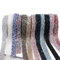 Crystal Rhinestone Ribbon Sewing Trim Resin Applique Craft Home Decal Decoration