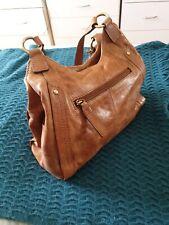 COLORADO Tan Brown Leather Boho Shoulder Bag Handbag