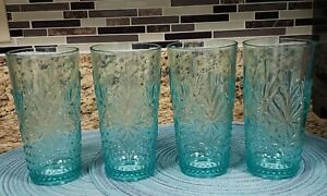 THE PIONEER WOMAN SET OF 4 SUNNY DAYS TEAL DURABLE ACRYLIC 24 OZ TUMBLERS NEW