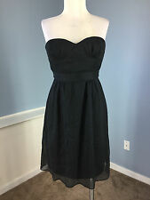 J Crew S 4 Black Silk Chiffon Cocktail Party Dress Excellent LBD Strapless Flare
