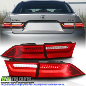 2004-2008 Acura TSX Red Clear LED Tube Tail Lights Brake Lamps 4pcs Left+Right