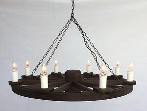 TWC/8 - Traditional Rustic Wooden 8-Light Cartwheel Pendant / Ceiling Light