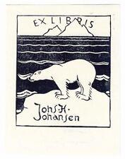 JÖRGEN JENSEN: Exlibris für Johs. H. Johansen, Eisbär