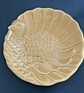 "Pottery Barn Embossed/Sculpted Turkey Plates Appetizer/Dessert/Salad 6.75"" Set 3"