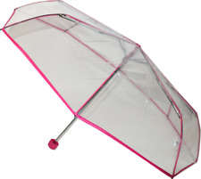 SOAKE Clear Dome Folding Umbrella with Pink Trim Unisex Women Ladies Fibreglass