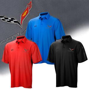 2014-2019 Corvette C7 Mens Under Armour Tech Polo Shirt with Logo and Script