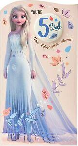 You're 5 Disney Frozen Princess Elsa Adventure Ahead Birthday Card