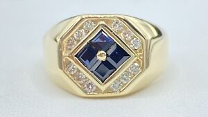 1.00 ct NATURAL DIAMOND & sapphire mens pinky ring SOLID 14K yellow gold (VIDEO)